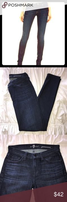 "7 For All Mankind skinny Jeans 7 For All Mankind Jeans in Gwenevere, dark blue rinse. Zip fly and button closure.  Five pocket construction. Brand logo on back waistband and pocket. 90% cotton/10% poly spandex blend. Inseam 29"". Rise 8.5"". Leg opening lying flat 5"". EUC. As seen at Neiman Marcus and Nordstrom. 7 For All Mankind Jeans Skinny"