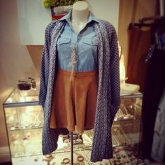 """New arrival from LazyBones, a lovely cozy knit """"Genevieve"""" coat $135, mixed and matched with Wrangler vintage blue denim """"Stevie"""" shirt $99.95 and vintage bottle encased in macrame pendant necklace $35 #lazybones #genevieve #knit #coat #lovely #mixandmatch #wrangler #denimshirt #Stevie #bottle #macrame #pendant #necklace New Look Fashion, Cozy Knit, Mix N Match, Denim Shirt, Blue Denim, Macrame, Paintings, Pendant Necklace, Knitting"""
