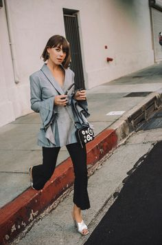Falling for Statement Sleeves | Margo & Me. Grey checked bell sleeves blazer+black flare pumps+silver mules+black chain crossbody bag. Pre Fall Dressy Casual Outfit 2017