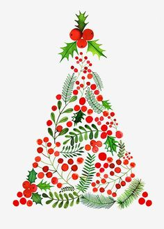 Margaret Berg Art: Berries Mistletoe Christmas Tree - Trend Being Fooled Quotes 2019 Noel Christmas, Little Christmas, Winter Christmas, Vintage Christmas, Christmas Crafts, Christmas Decorations, Christmas Ornaments, Christmas Fabric, Illustration Noel