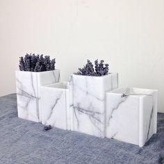 【土耳其的紐約薰衣草】 小四角 大理石花器 居家裝飾