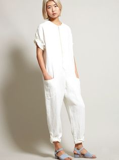 No. 6 Wallace Jumpsuit - White Linen