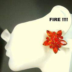 JUDY LEE Signed Fire Orange Red Rhinestone Clip Earrings