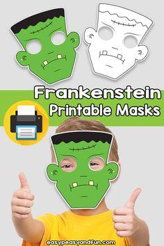 Printable Frankenstein Mask Template – Easy Peasy and Fun Membership Printable Halloween Masks, Printable Masks, Halloween Crafts, Printables, Crafts For Kids To Make, Fun Crafts, Art For Kids, Frankenstein Mask, Mask Template