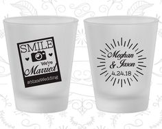 Smile We are Married, Frosted Shot Glass, Hashtag Wedding, Camera, Frosted Glasses (360)