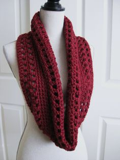 Crocheted Cowl Scarf-Infinity-Rose Red - Crochet Red Cowl - Crocheted Circle Scarf - Red Infinity Scarf - Rose Cowl Scarf (29.00 USD) by RoseJasmine