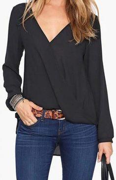 versatile black chiffon blouse