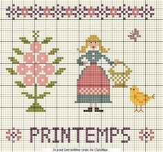 Free printemps spring basket chick tree cross stitch point de croix