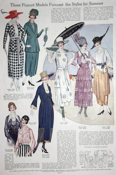 "Kittyinva: April, 1921 fashion page from ""Pictorial Review"". From 1920′s Fashion Archives."