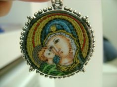 Mosaic pendant Mary and Jesus by Argentumgreece on Etsy, €300.00