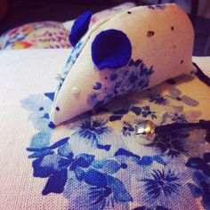 Pretty blue hydrangea Peonie Cole mouse pin cushion designed by Scottish textile designer Catherine Beaumont  www.peoniecole.co.uk