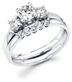 White Gold Three 3 Stone Round Diamond Engagement Anniversary 2 Ring Set W Matching 5 Wedding Band Cttw G H Color Clarity