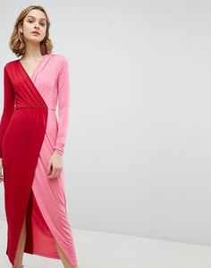 Browse online for the newest ASOS Color Block Wrap Maxi Dress styles. Shop easier with ASOS' multiple payments and return options (Ts&Cs apply). Asos, Spring Dresses, Spring Outfits, Colour Blocking Fashion, Color Blocking, 30 Outfits, Maxi Wrap Dress, Dress Prom, Colorblock Dress