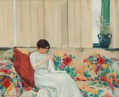 Helen McNicoll, The Chintz Sofa, c. 1913. Oil on canvas, 81.3 x 99.1 cm. Private collection, Thornhill, Ontario. #ArtCanInstitute #CanadianArt