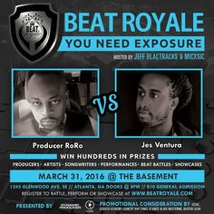 This Thursday Who's Bringing That Fire To Beat Royale?? We have @rorotheproducer vs @jes_ventura battling it out for the crown of @BeatBattleKing!! This epic night will be hosted by @MICxSIC and @JeffBlactracks doors open to the @Basement_EAV at 8:00pm. $10 At The Door.  VIP Battle and Performance Registration:  http://ift.tt/20QLLdw #beatroyale #atlanta #dynamicproducer #beatbattleking #superproducer #superproducers #musicbusiness #christianhiphop #futureproducer #christianproducer…