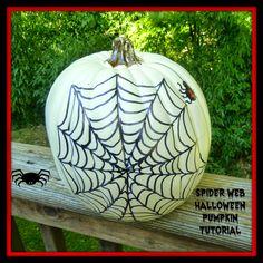 Easy spider web Halloween pumpkin tutorial