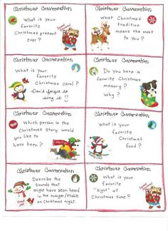 Table Topics Ideas Funny conversation starters great for the dinner table Christmas Fun Cards Free Printables