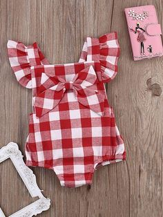 9ccf96850a9a 2-piece Red Plaid Romper and Headband for Baby Girls Baby Girl Romper