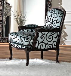 Velvet armchair and footstool