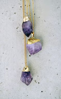 Raw Amethyst Gold Filled Necklace. $42.00, via Etsy.