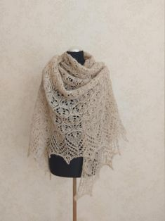 Beige hand knitted alpaca and silk shawl Cream white lace | Etsy White Beige, Cream White, Light Beige, White Lace, Silk Shawl, Mulberry Silk, Bridal Outfits, Knitted Shawls, Lace Knitting