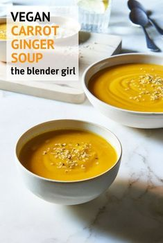 6 Ingredient Carrot Ginger Soup {Kid-Friendly }- The Blender Girl Carrot Ginger Soup Vegan, Carrot Soup, Blender Recipes, Soup Recipes, Fall Recipes, Nutribullet Recipes, Canning Recipes, Chili Recipes, Smoothie Recipes