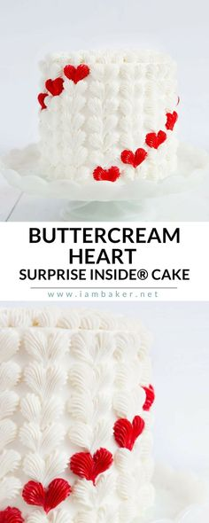 Making a surprise-inside cake can be easy AND fun! While I love a good surprise-inside, the hearts of the outside of the cake are my favorite part! Surprise your loved one with this easy to make and delicious Buttercream Heart Surprise Inside Cake. For