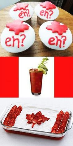 canada day food, patriotic decoration ideas and edible decorations in white and red colors