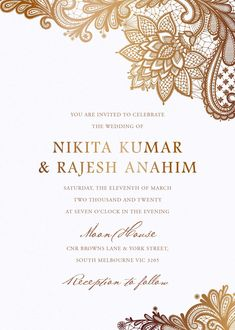 These modern hindu wedding invitations 'Tirumana Henna' by Dylan T draws inspiration from the beautiful patterns tattooed onto an Indian bride's hands before her Tiffany Wedding Invitations, Indian Wedding Invitation Cards, Wedding Card Design Indian, Indian Wedding Decorations, Stage Decorations, Invitation Card Design, Wedding Invitation Design, Invitation Wording, Hindu Wedding Cards