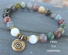 Moonstone, Jasper, choose your charm, Lotus, Buddha, Om, meditation, Yoga bracelet, Energy bracelet, wrist mala, Ohm mala, Reiki Charged