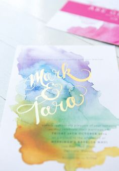 I like the water colors and I like the idea of a pop of contrasting color. Maybe an auburn or something rusty colored to match my hair? WATERCOLOUR BURST WEDDING INVITATIONS by Kathryn Green