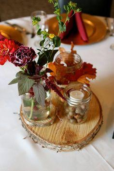 rondelle de bois transformée en élément décoratif sur la table