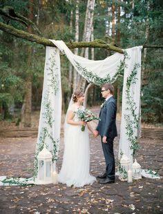 elegant white and greenery outdoor wedding ceremony ideas