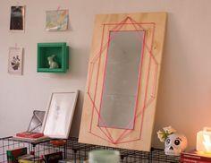 Espelho com string art - String art mirror - Decoração com objetos de R$1,99 - DIY