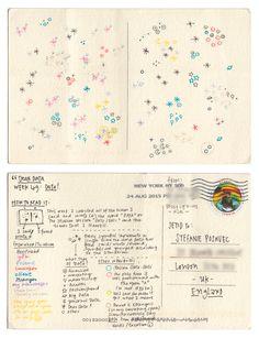 Dear-Data (www.dear-data.com) Week 49- A week of DATA, Postcard by Giorgia
