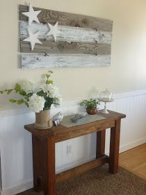 Rustic Cottage Chic from reclaimed wood. Four rustic wood boards are pieced together with wire and rusty bells. Three chunky distressed stars top it all off and make such an awesome wall hanging for your home. So neutral it hang out all year long. Barn Wood, Rustic Wood, Rustic Decor, Wood Wood, Weathered Wood, Rustic Design, Design Design, Interior Design, Rustic Cottage