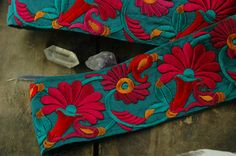 In the Garden of Teal: Red Fuchsia Silk Trim by WomanShopsWorld
