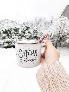 Snow day campfire mug, coffee mug, white speckled mug