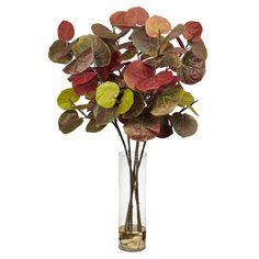 """49"""" H Giant Sea Grape Leaf w/Cylinder Silk Plant"""