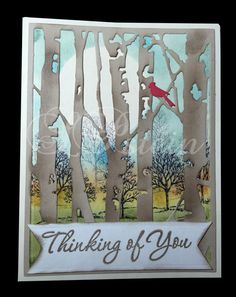 Sympathy card using Tim Holtz's birch tree die and SU Lovely as a Tree stamp. (Pin#1: Nature: Trees. Pin+: Scenes).