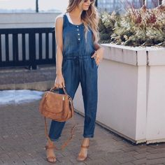Fashion Long Beach Jumpsuit Denim Holiday Playsuit Sleevelss Strappy For Women Asos Jumpsuit, Jumpsuit Denim, Jumpsuit Casual, Jumpsuit Outfit, Casual Pants, Maternity Jumpsuit, Sexy Jeans, Jeans Denim, Denim Overalls