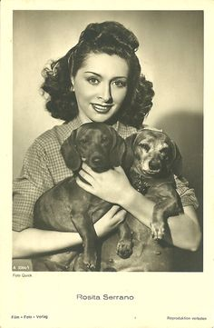 dachshunds with actress Rosita Serrano