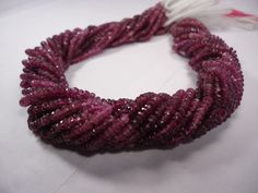 """AAA Pink Tourmaline micro faceted Rondelle Shaded beads 14""""strand 3.5mm Necklace #GemstoneTopper #MicroFaceted"""
