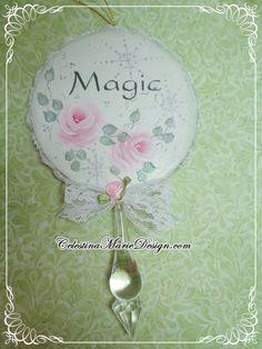 Round Paper Mache Christmas Ornament Hand by CelestinaMarieDesign