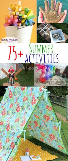More than 75 fun summer activities for kids and families! - Summer Activities for Kids and Families - Diy With Kids, Summer Fun For Kids, Cool Kids, Kids Fun, Summer Activities For Kids, Toddler Activities, Crafts For Kids, Family Activities, Summer Games