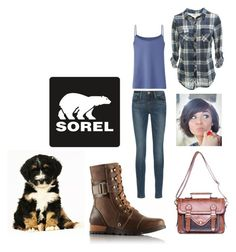 """""""These Boots Were Made For Walking"""" by mountain-girl-lynn ❤ liked on Polyvore featuring мода, SOREL, Frame Denim, Uniqlo и sorelstyle"""