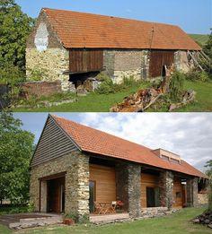 Předtím a potom. Vestavba dřevěného domu do starší stodoly. Spojení dřeva a kamene mám rád. Architekti Jan Forman a Michal Schwarz.
