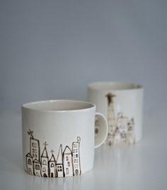 Hecho a mano Cafetiere acogedor//Café Acogedor telas de algodón 8 Taza de impresión. con un gatito