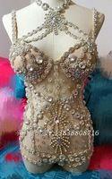 Lady dress dançarino trajes de roupas de palco cantora bodysuit diamante personalidade feminina estrelas bar show de festa de natal