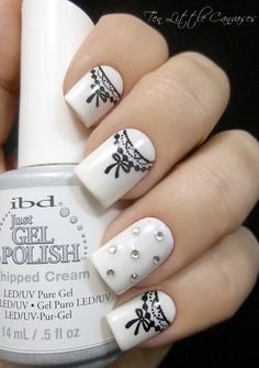 Black and white lace nails, cute!!